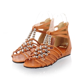 Chic Beads Ankle Strap Roman Flat Sandals