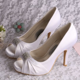 High-Level Satin Open Toe Stiletto Heel Wedding Shoes