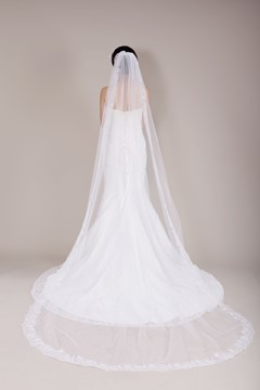Pretty Chapel Length Lace Wedding Veil