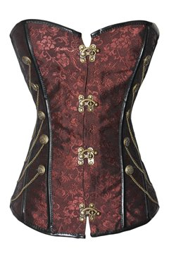 Attractive Dark Red Chain Cross Lace-Up Overbust Corset