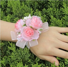 Brilliant Pearls Pink Cloth Flowers Bridal Wrist Corsage