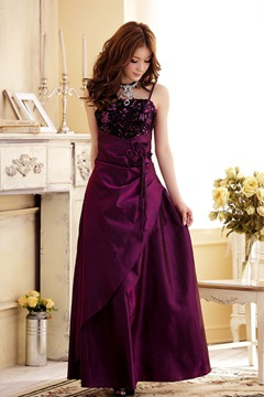 Cute A-Line Spaghetti Straps Flowers Floor Length Bridesmaid Dress