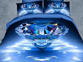Brilliant Blue Crystal Print Polyester 3D Bedding Sets