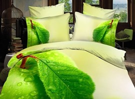 Green Leaves and Dew Print Polyester 3D Bedding Sets