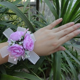 Brilliant Pearls Purple Cloth Flowers Wedding/Bridal Wrist Corsage