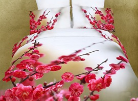 Splendid Pink Flowers and Bud Cotton 4 Piece Duvet Cover Bedding Sets