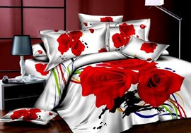 Red Roses and Colored Ribbon Print 3D Bedding Sets