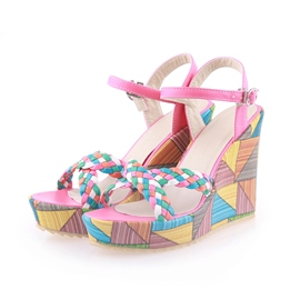Soft Colorful Platform Upper Wedge Heel Sandals