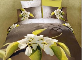 Fragrant Pear Flower Print 4 Piece 3D Duvet Cover Sets