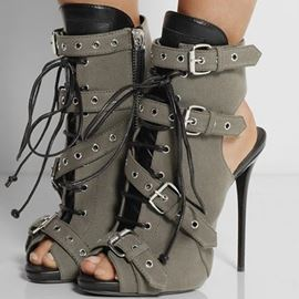 Brilliant Cool PU Ankle Boots with Buckles