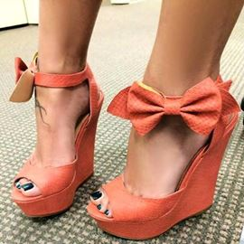 Elegant Bowknot Decoration Wedge Sandals