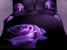Charming Big Dewy Purple Rose Print 3D Duvet Cover Sets