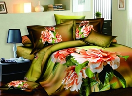Dark Green Flowers Printed 4 Piece Cotton Bedding Sets