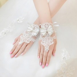 Classical Lace Bowknot Rhinestone Wedding Gloves