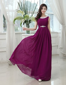 Most Popular Jewel Neck A-Line Long Bridesmaid Dress
