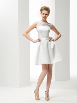 A-line Bateau Short/Mini Satin Wedding Dress