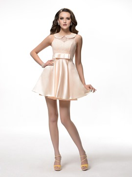 Pretty A-Line Scoop Bowknot Zipper-Up Short/Mini Homecoming Dress