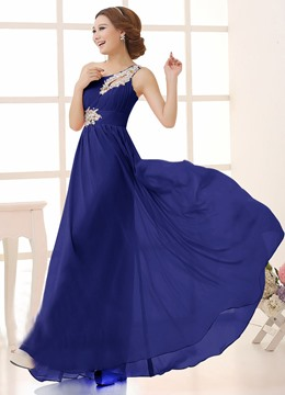 Eleagnt A-Line One Shoulder Beading Bridesmaid Dress (4 colors)