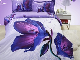 Mysterious Purple Flowers 3D Bedding Sets