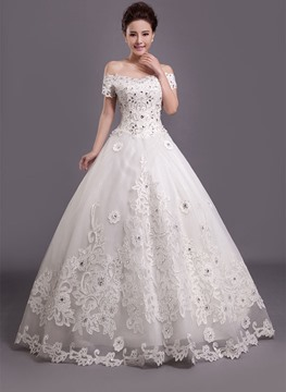 Gorgeous Ball Gown Off the Shoulder Appliques Rhinestone Charming Wedding Dress