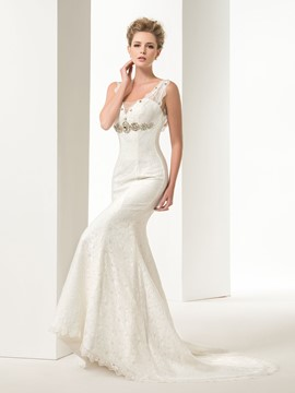 Graceful Mermaid/Trumpet Lace Crystal Straps Court Train Floor-Length Lace-up Wedding Dresses
