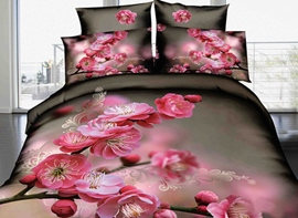 Delicate Pink Peach Flowers Print 3D Duvet Cover Sets