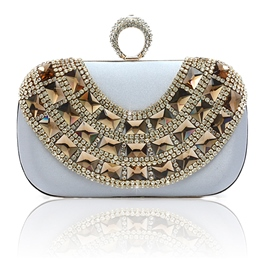 est Rhinestone Rivet Metallic Chain Clutches