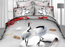 Comfortable Two Cranes on Ice Print 3D Duvet Cover Sets