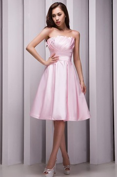 Pretty A-Line Strapless Beading Knee Length Bridesmaid Dress