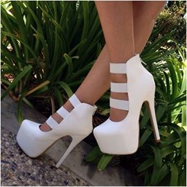 Pretty White PU Cut-Outs Dress Sandals