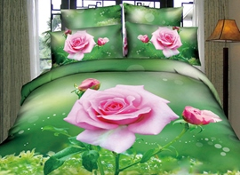 A Branch of Pink Rose with Green Background Print 3D Duvet Cover Sets