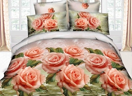 Total Orange Color Rose Print 3D Duvet Cover Sets