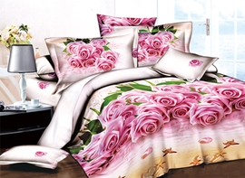 Pretty Pink Roses on Beach Print 3D Duvet Cover Sets