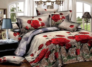 Red Roses with Leopard Background Print 3D Duvet Cover Sets