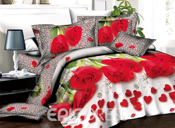 Romantic Red Roses and Heart Shape Petals Print 3D Duvet Cover Sets Ericdress