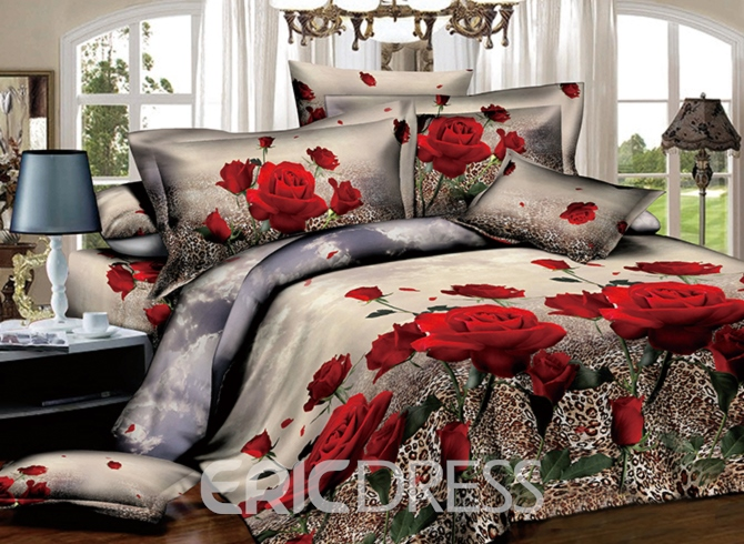 Red Roses with Leopard Background Print 3D Duvet Cover Sets Ericdress