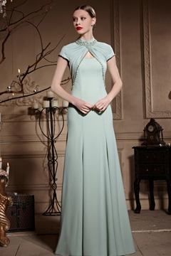 High Neck Short Sleeves Floor Length A-Line Pearl Evening Dress