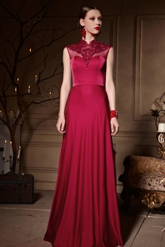 Classical High Neck Beads A-Line Floor-Length Appliques Evening Dress