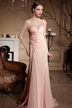 A-Line One-Shoulder Appliques Evening Dress