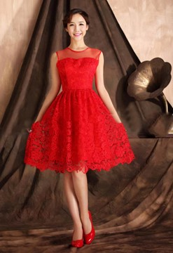 Pretty A-Line Jewel Lace Short Charming Bridesmaid Dress
