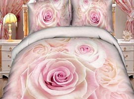 The Tender Pink Rose Blossom 100% Cotton 3D Bedding Sets
