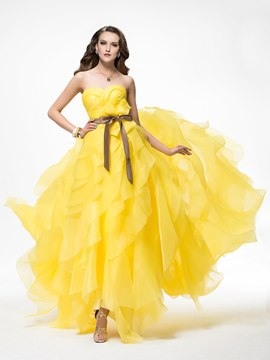 Gorgeous A-Line Sweetheart Tiered Sash Floor-Length Lace-up Chapel Train Evening Dress