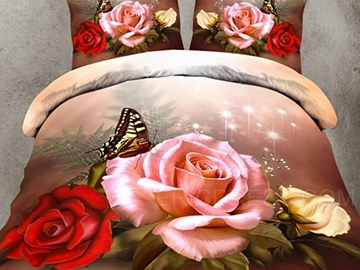 Roses&Butterfly Wake Up in The Spring 3D Bedding Sets