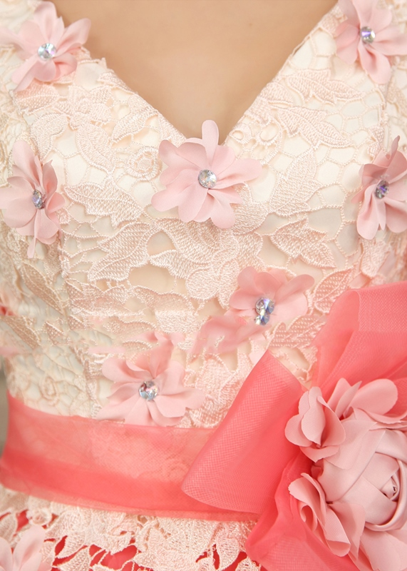 Luxurious Straps Ball Gown V-Neck Flowers Lace Up Quinceanera Dress