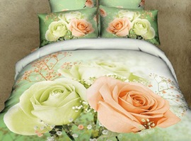 Romantic Couple Flowers 3D Bedding Sets