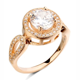Polished Round Zircon Rhinestone Women Ring