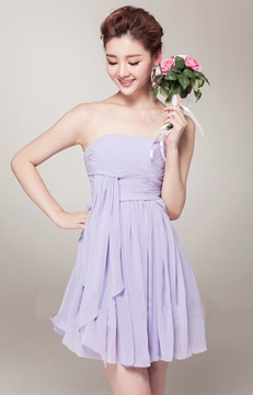 Pretty A-Line Strapless Empire Ruched Homecoming Dress