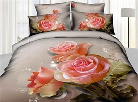 High Cotton Lifelike Big Pink Roses 4 Piece Bedding Sets
