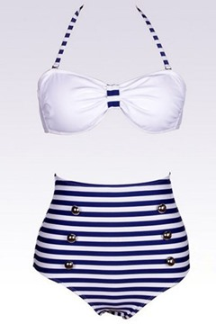 Ericdress Cool Strip Buttons High Waist Bikini