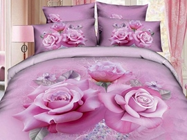 Stunning France Rose 100% Cotton 3D Bedding Sets